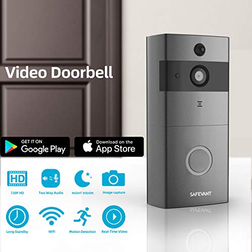 Smart Wireless Video Doorbell, SAFEVANT 720P HD Security Camera with PIR Motion Detection, Night Vision, Two-Way Talk, Real Time Video for Home, NO Batteries Included(Grey)