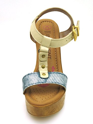 Innocent Tacón Alto Sandalias Botas De Cuero Mujer T-Stripe 188-SS02 Beige