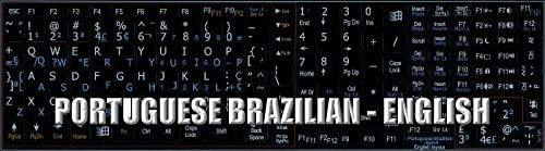 English Notebook Non-Transparent Black Keyboard Stickers Portuguese Brazilian