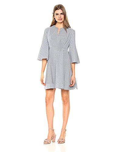 Wild Meadow Women's Stripe Poplin Shirting Tunic Dress S (3/4 Sleeve Shirting Top)