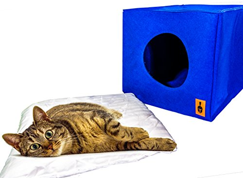 Cat Bed / Cat Cave , Dog Bed / Dog Cave - incl. Machine Washable Cushion. (13 x 13 x 14.5 inches)
