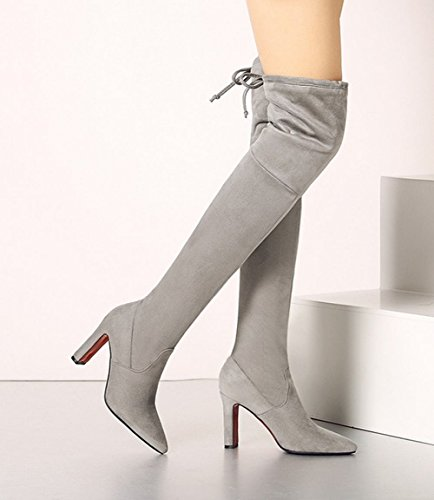 Carolbar High Heel Pointed Grey Long Toe Boots Sexy Women's Fashion Nubuck PAPwTqfx7
