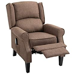 Farmhouse Accent Chairs HOMCOM Wingback Heated Vibrating Accent Sofa Vintage Linen Fabric Massage Recliner Chair Push-Back with Remote… farmhouse accent chairs