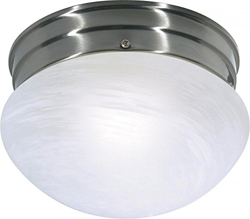 Nuvo SF76/671 Small Brushed Nickel Mushroom with Alabaster Glass