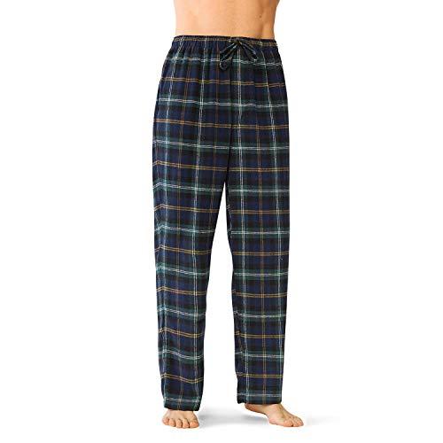 Flannel Loungewear - SIORO Flannel Pajama Pants for Men Soft Cotton Plaid Sleepwear Loungewear Bottoms, Black Watch Plaid, XXL