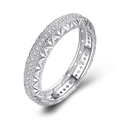 JewelryPalace Vintage Hollow Flower Engraved Filigree Milgrain 0.3ct Cubic Zirconia Anniverasry Eternity Ring Wedding Band 925 Sterling Silver size 8 ()