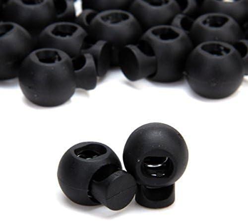 ULTNICE Single Hole Plastic Cord Lock Toggle with Spring Round Rocker 100pcs Black