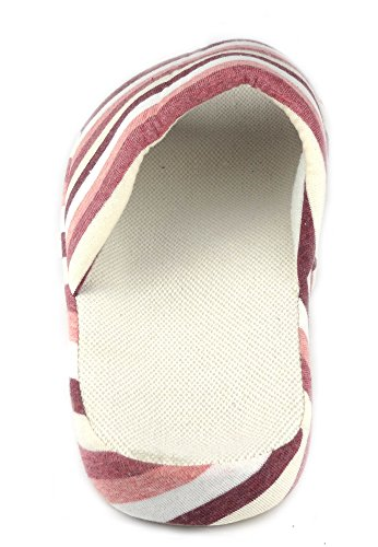 Sfnld Hombres Mujeres Unisex Cotton Linen House Slipper Red