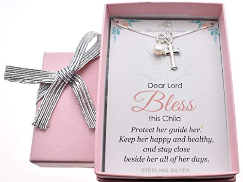 Baby Girl's Cross necklace with freshwater pearl in sterling silver on a 14