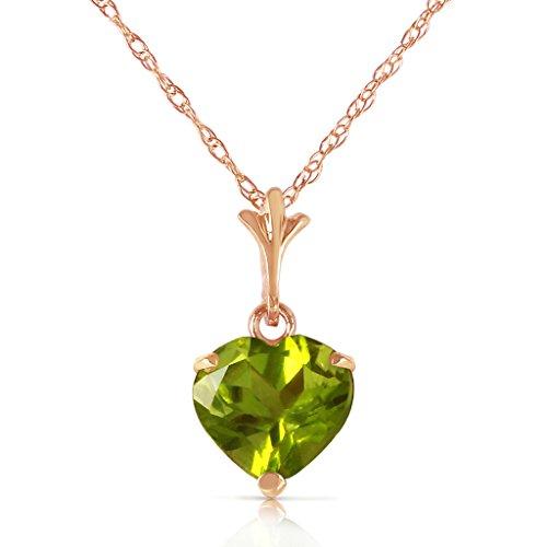 14k Yellow, White, Rose Gold Heart-shaped Natural Peridot Pendant Necklace