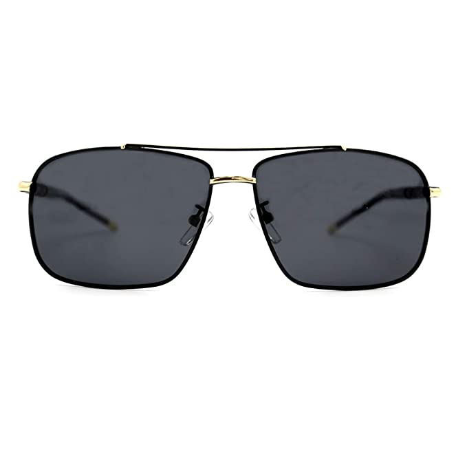 683fd48e34 Natwve Co Ultra Lightweight Rectangular Metal Polarized Sunglasses 100% UV  protection 60mm (Black with Gold