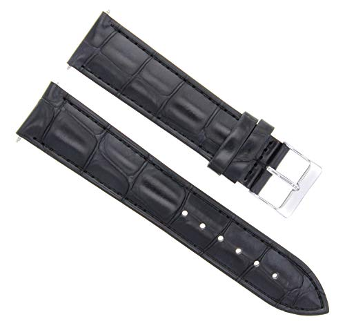 - 24MM Italia Leather Watch Strap Band for Mens Kenneth Cole Watch Black