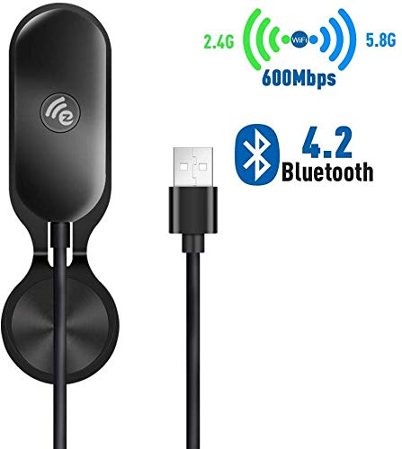 Lemorele Wireless USB WiFi Adapter 5G/2.5G USB Bluetooth 4.2 Dual Band Wireless Adapter AC 600Mbps Mini WiFi Dongle with Sticker for Desktop Laptop PC Projectors Support Windows XP/7/8/10, Mac OS