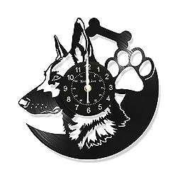 Wall Clock Vinyl Record Retro 12' Wall Art Dog Lover Gift German Shepherd Design LP Animals Wall Mounted Timepiece