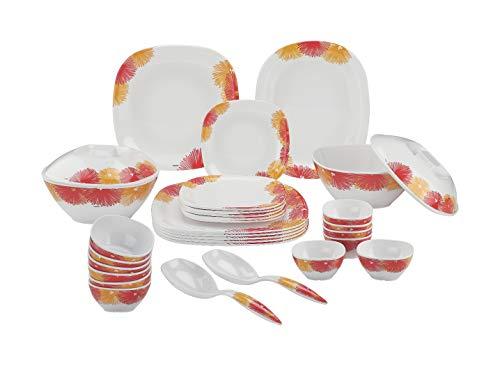 Nayasa Melamine Square Plates Dinner Set   31 Pieces Maroon Color