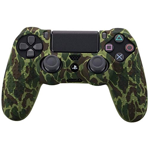Alician Gamepad Camouflage Case Graffiti Studded Dots Silicone Rubber Gel Skin for Sony PS4 Slim/Pro Controller Cover Case for Dualshock4 Colorful Green