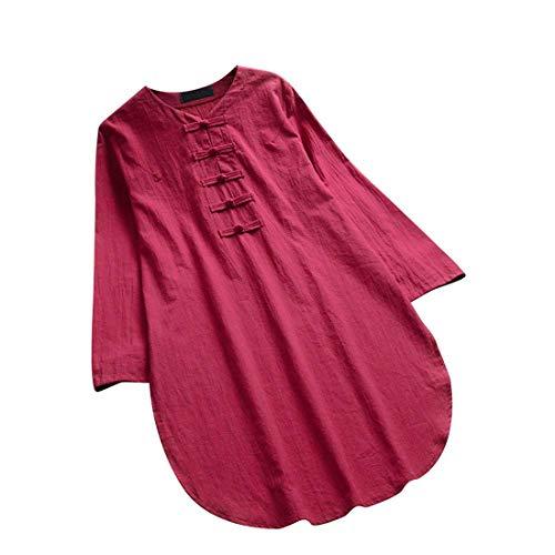 Elegant Women Loose Shirt Lace V Neck Half Sleeve Cotton Linen Spring Fall Tops Blouse Plus Size Jumper Tunic S-5XL ()