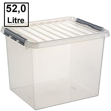 6 Boxen /à 4 Liter im Set Aufbewahrungsbox 30 x 20 x 10 cm mit Clicverschlu/ß und Tragegriff