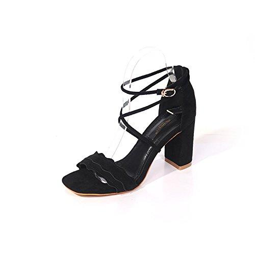 Moda tacones grueso nine de tacón de la zapatos ante zapatos con tacón Thirty Cruz señoras cómodo RRw5XrqAx