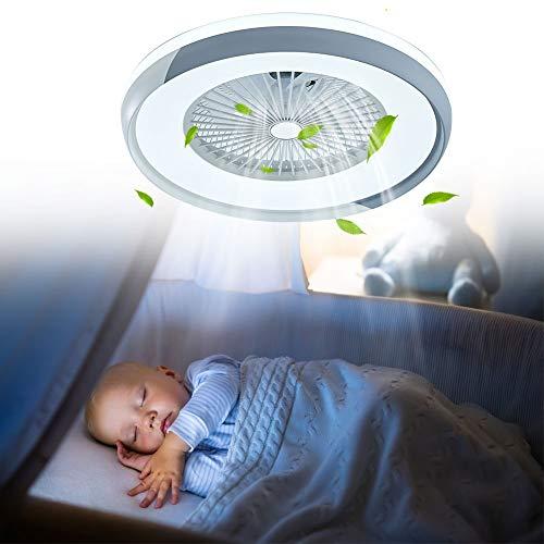 OUKANING Ventilador de techo con iluminación, ventilador de techo LED, sin hojas con luces LED, para dormitorio, salón…