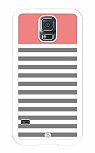 iZERCASE Samsung Galaxy S5 Case White Grey Coral Stripes RUBBER - Fits Samsung Galaxy S5 T-Mobile, AT&T, Sprint, Verizon and International