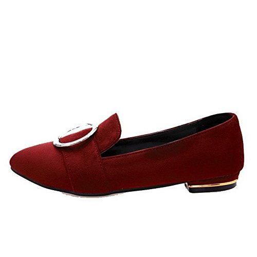 Odomolor Women's Solid Frosted Low-Heels Pointed-Toe Pull-On Pumps-Shoes, Red, 38