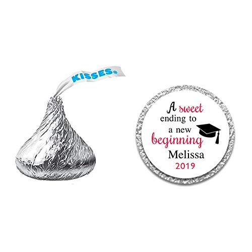 216 Personalized Graduation Chocolate Kiss Stickers - Perfect Size for Hershey