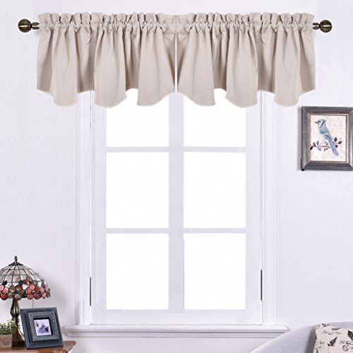 Nicetown Blackout 52-inch by 18-inch Scalloped Valance Window Dressing, Set of Two, Beige
