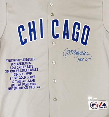 Chicago Cubs Ryne Sandberg Autographed Gray Majestic Stat Jersey