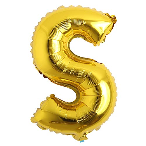 32 inch Letter Balloons Gold Alphabet Number Balloons Foil Mylar Party Wedding Bachelorette Birthday Bridal Shower Graduation Anniversary Celebration Decoration (32 inch S Gold) ()