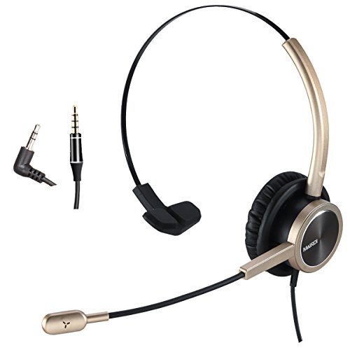 (2.5mm Telephone Headset with Noise Cancelling Microphone for Jabra Cisco Polycom Panasonic Zultys Gigaset Including 3.5mm Connector for Mobiles)