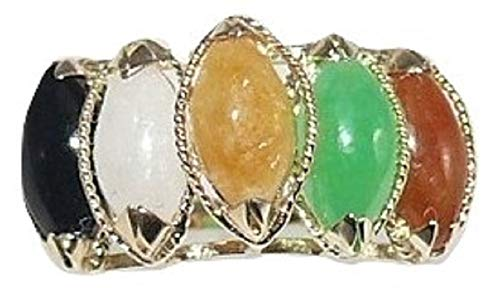 Vics Fine Jewelry Multi-Color Jade 4 x 8 mm Ring with 14k Yellow Gold
