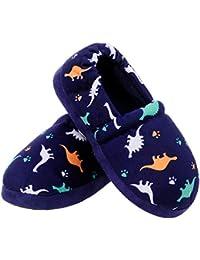 Little Kids Boys Indoor House Slip-on Slippers Soft Warm Memory Foam