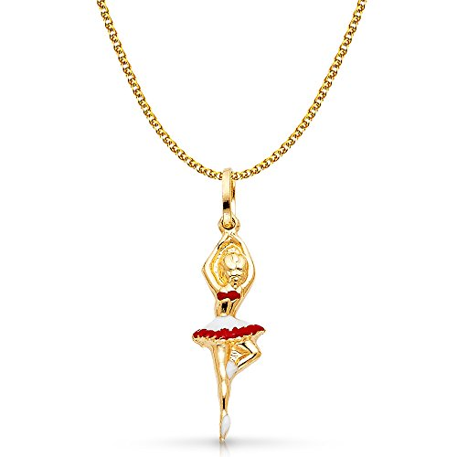 14K Yellow Gold Ballerina Red and White Color Enamel Charm Pendant with 1.5mm Flat Open Wheat Chain Necklace - 18
