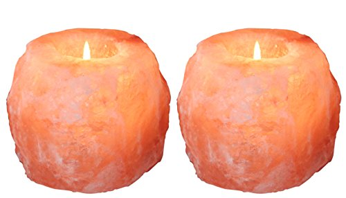 WBM 3002A Natural Style Hand Carved Himalayan Pink Crystal Salt 1 Hole Tealight Candle Holder,2-Pack