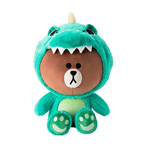 LINE FRIENDS Plush Figure - Dino Brown Character Cute Soft Sitting Stuffed Doll, 18 Inches
