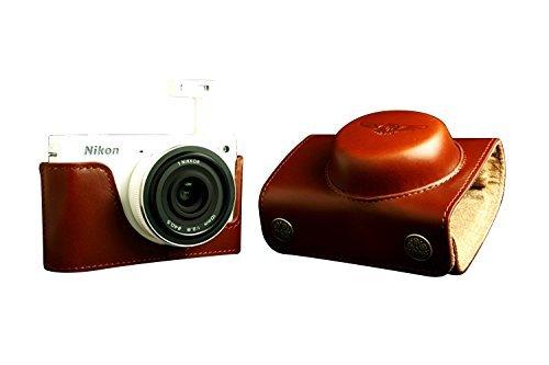 ニコン Nikon 1 J2用本革レンズカバー付カメラケース ブラウン B07T4HH5GG レンズカバー付ケース&ストラップTP1881 FreeSize