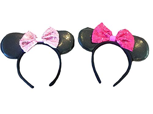 Mickey/Minnie Mouse Style Ears Boys, Girls, Children, Adults, Halloween (Big Sparking Bow [1 Fuchsia, 1 Pink]) ()
