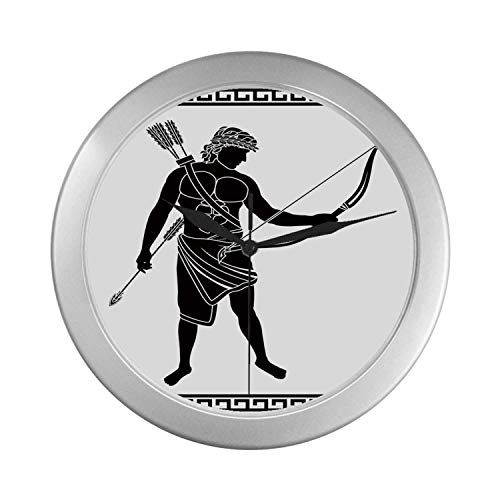 C COABALLA Toga Party Simple Silver Color Wall Clock,Hellenic Bowman Silhouette Eros Fantasy Gladiator Old Mediterranean Print Decorative for Home Office,9.65