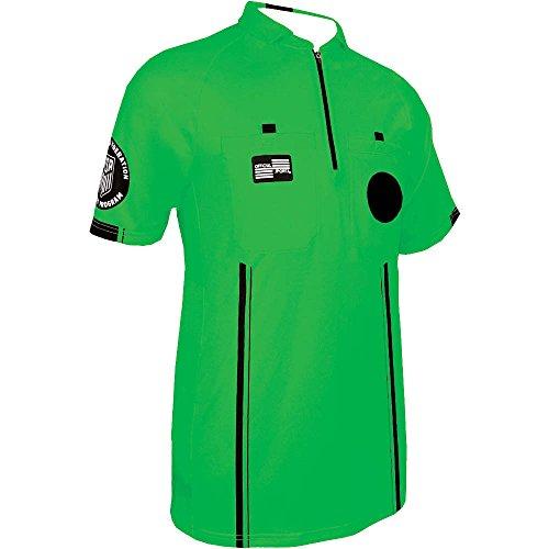 New USSF Pro Soccer Referee Green SS Shirt (Green, Small) - Pro Referee Jersey