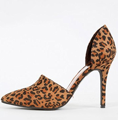 Breckelles Leopard Pointy Toe Man-made Suede Stiletto Pump Bsmegan-21 byKM0JWL