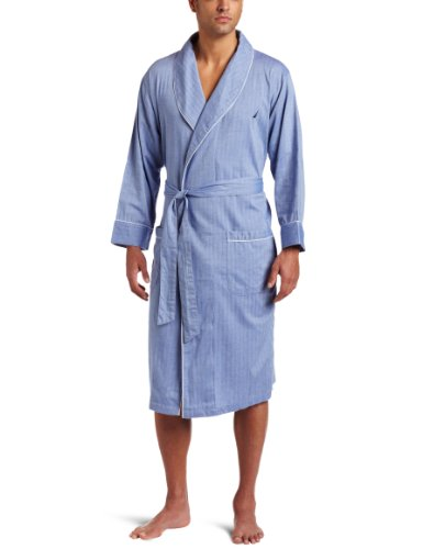 Nautica Men's Captains Herringbone Woven Shawl Collar Robe,Blue Bone,Large/X-Large (Male Robes)