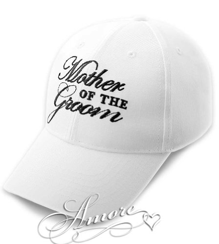 MOTHER of the GROOM Wedding Baseball Cap White Hat with Black Embroidery 100% Cotton