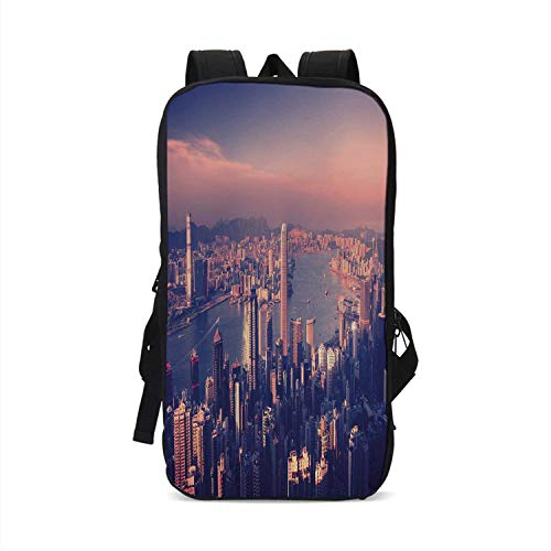 City Stylish Compatible with iPad Backpack,Dreamy View of Chinese City Hong Kong Urban Scene Concept Victoria Harbor for School Office,One Size