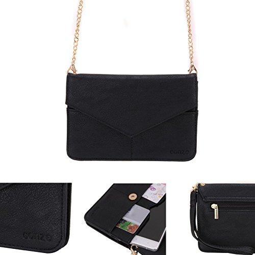 Conze Mujer embrague cartera todo bolsa con correas de hombro para Smart Phone para Sony Xperia Z2/Z3V negro negro negro