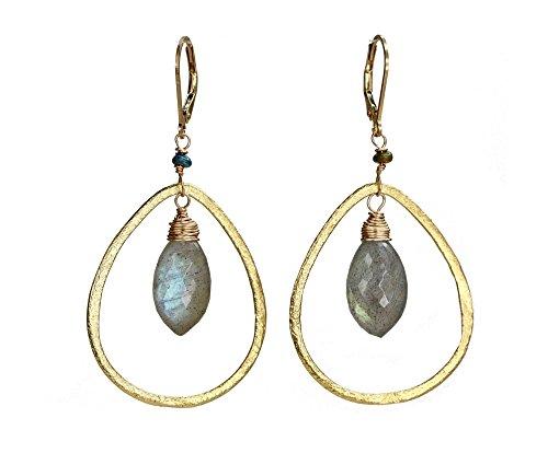 Gold Teardrop Hoop Chandelier Earrings Black Opal Labradorite Gemstone- 2.25'' Length by Nadean Designs