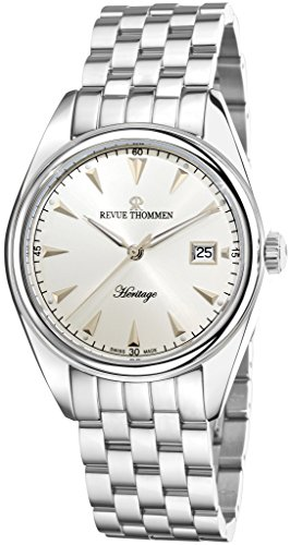 Revue Thommen Heritage Mens Automatic Watch - 41mm Analog Silver Face with Second Hand Date Sapphire Crystal Dress Watch - Stainless Steel Metal Band Swiss Made Luxury Watches for Men 21010.2132