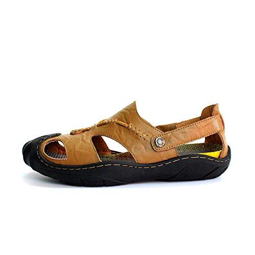 Xing Lin Sommer Sandalen Strand Schuhe Herren_Sommer Sandalen Männer Baotou Männer Schuhe Casual Loch Khaki