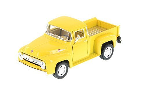 1956 Ford F-100 Pickup Truck, Yellow - Kinsmart 5385D - 1/38 Scale Diecast Model Toy Car