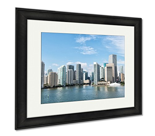 Ashley Framed Prints Miami Seascape With Skyscrapers In Bayside Downtown, Office/Home/Kitchen Decor, Color, 30x35 (frame size), Black Frame, - At Bayside Miami Shops